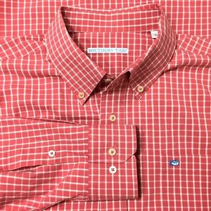 Southern Tide Mens Shirt XL Red Check Plaid
